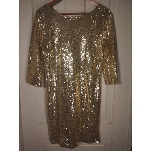 Sequined gold 3/4 sleeves party dress holiday NYE